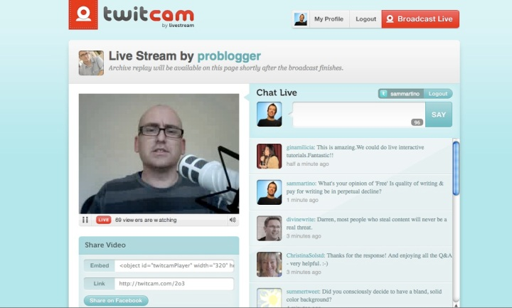 Pro blogger on twitcam.com