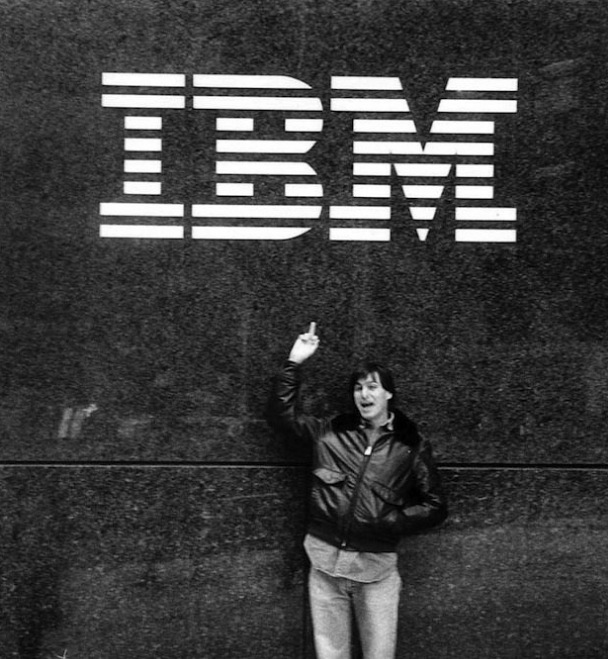 Steve Jobs gives IBM the finger