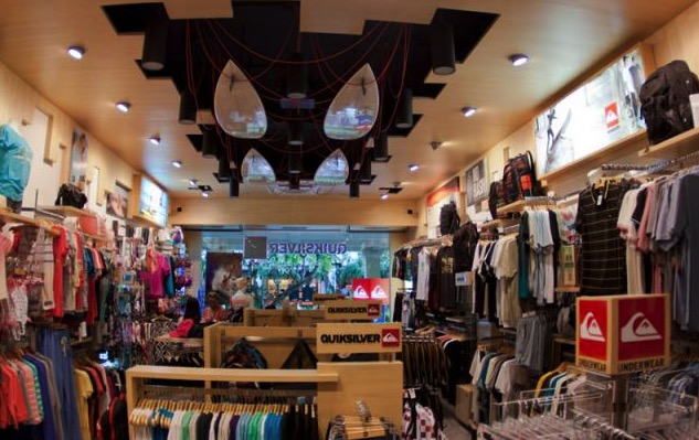 Quiksilver store focus on clothing