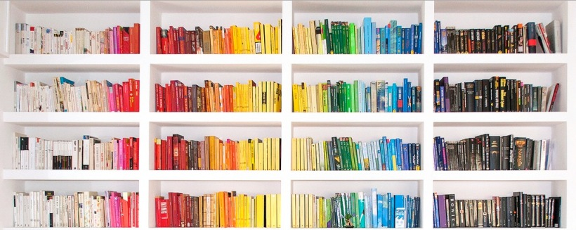 Book shelf colour coded