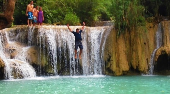 Jumping off a waterfall